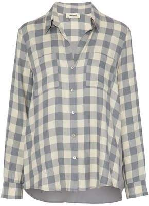 L'Agence Silk Crepe De Chine-Paneled Gingham Flannel Shirt