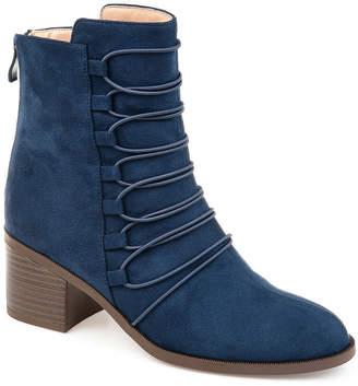 Journee Collection Womens Jc Cyan Booties Stacked Heel Zip