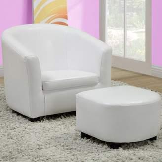 Monarch Specialties Monarch Juvenile LeatherLook Chair And Ottoman 2 Piece Set, Multiple Colors