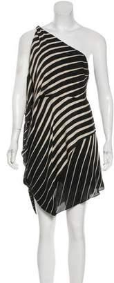 Halston Striped Asymmetrical Shoulder Dress