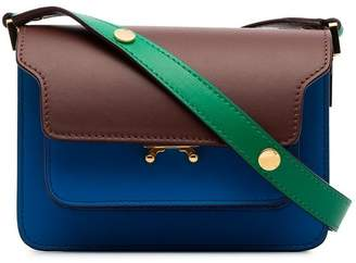 Marni green, blue and brown trunk small leather shoulder bag