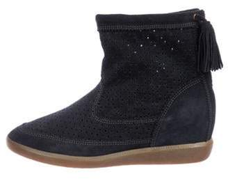 Isabel Marant Suede High-Top Sneakers Blue Suede High-Top Sneakers