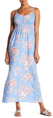 Planet Gold Smocked Bodice Floral Maxi Dress