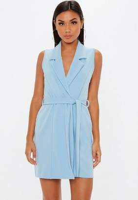 Missguided Powder Blue Sleeveless Stretch Crepe Blazer Dress