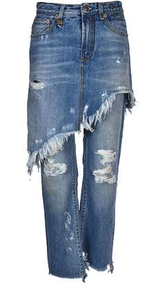 R 13 Double Classic Shredded Hem Jeans