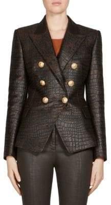 Balmain Leather Embossed Jacket