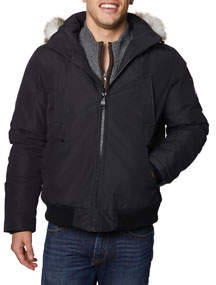 Men's Zip-Up Bomber Jacket w/ Hood
