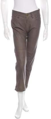 Current/Elliott Leather Straight-Leg Pants