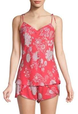 Josie Natori Two-Piece Printed Shorty Pajama Set