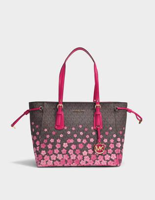 MICHAEL Michael Kors Voyager Medium Top Zip Tote Bag in Brown Monogrammed Canvas with Pink Flowers