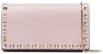 Valentino pink Rockstud studded leather wallet on a chain