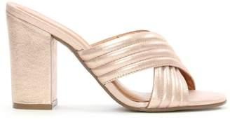 Daniel Galega Pink Metallic Quilted Heeled Mule