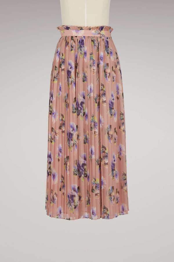 Msgm Georgette Floral Print Skirt