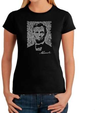 Women's Large Word Art Abraham Lincoln T-Shirt in Black $19.99 thestylecure.com