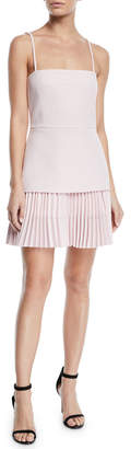 Dion Lee Square-Neck Crepe Bodice Pleated Skirt Mini Dress