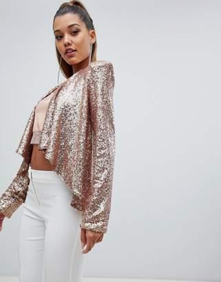 Club L sequin drape jacket
