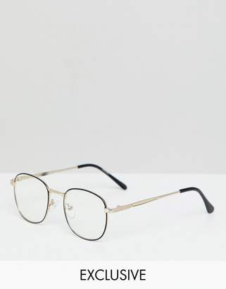 Reclaimed Vintage Inspired Square Clear Lens Glasses In Black/Gold