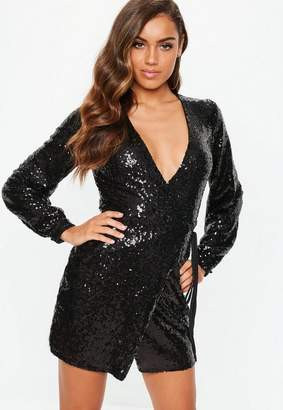 Missguided Black Sequin Wrap Mini Dress
