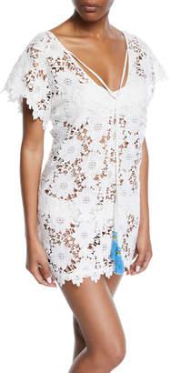 Letarte Floral Lace Short Coverup Dress