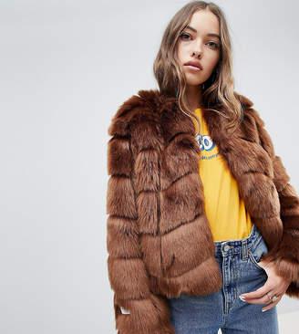 Jakke cropped faux fur paneled coat