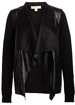 MICHAEL Michael Kors Women's Leather Drape Cardigan