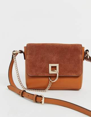 Asos Design DESIGN suede and leather mix cross body with ring and chain detail