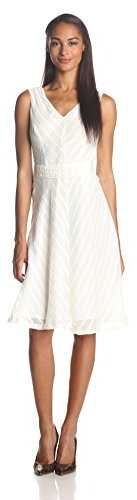 Anne Klein Women's Sleeveless V-Neck Belted Fit-and-Flare Dress