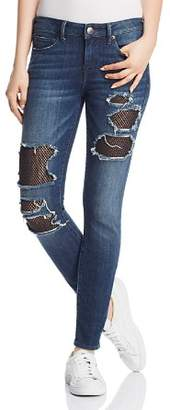 True Religion Halle Mesh-Patch Skinny Jeans in Cobalt Crush
