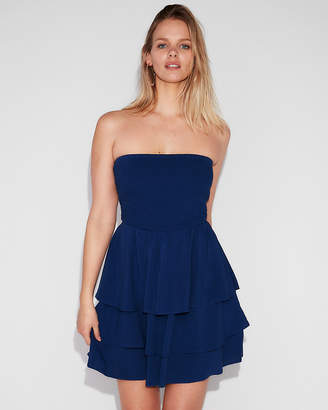 Express Strapless Smocked Bodice Fit And Flare Dress