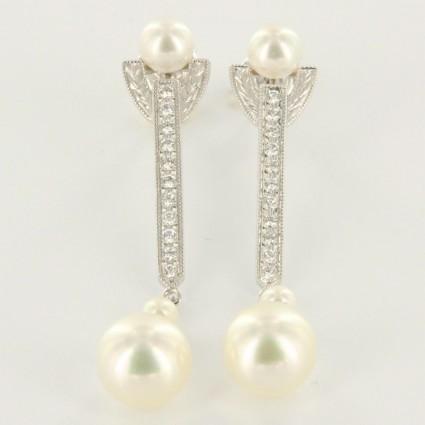 Mikimoto pristine (PR 18k White Gold Pearl Diamond Drop Dangle Earrings