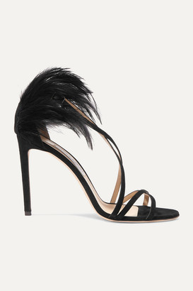 Jimmy Choo Belissa 100 Feather-trimmed Suede Sandals - Black
