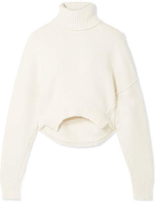 Golden Goose Amber Cropped Knitted Turtleneck Sweater - Ivory