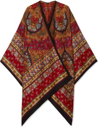 Etro Wool-blend Jacquard Wrap - Burgundy