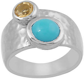 QVC Sterling Turquoise & Citrine Hammered Band Ring