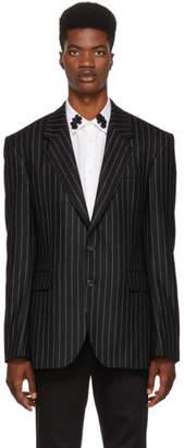 Alexander McQueen Black and White Pinstripe Blazer