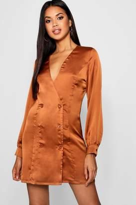 boohoo Satin Blazer Dress
