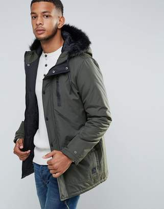 Tokyo Laundry Parka Jacket With Faux Fur Hood