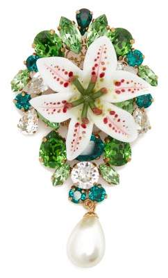 Dolce & Gabbana Crystal Embellished Lily And Pearl Brooch - Womens - Gold