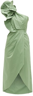 Johanna Ortiz Persian Opulence Cotton Blend Poplin Midi Dress - Womens - Green