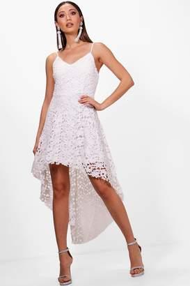 boohoo Boutique Lacey Lace Dip Hem Skater Dress
