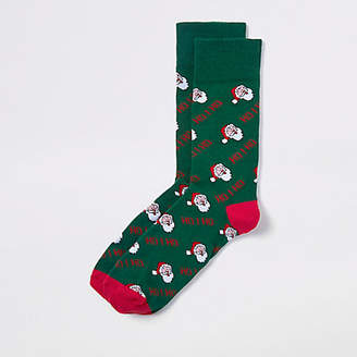 River Island Green 'Ho ho' Santa Christmas socks