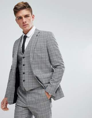French Connection Prince Of Wales Blue Check Slim fit Suit Jacket