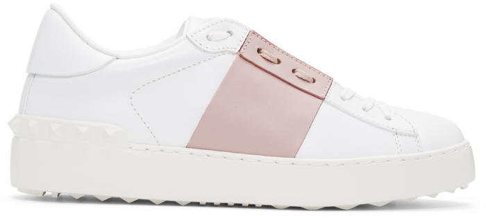Valentino White and Pink Valentino Garavani Open Sneakers