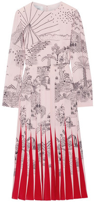 Valentino - Pleated Printed Silk Crepe De Chine Midi Dress - Pastel pink $5,800 thestylecure.com