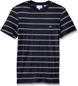 Lacoste Men's Short Sleeve Stripe Cotten/Linen Reg Fit T-Shirt