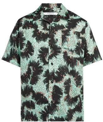 Givenchy Urchin Print Short Sleeved Cotton Shirt - Mens - Black Green
