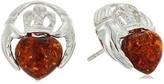 Celtic Amber Sterling Silver Heart Stud Earrings