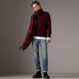Burberry Bird Button Breton Stripe Wool Cashmere Sweater