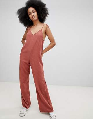 Pull&Bear cami detail woven jumpsuit in rust