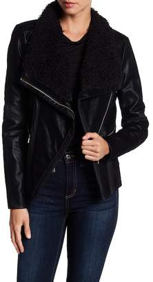 GUESS Faux Leather Moto Jacket with Faux Fur Collar